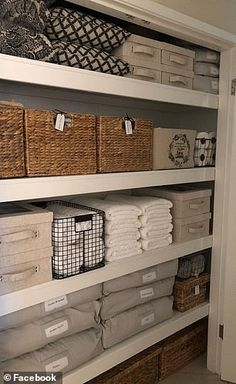 Super Creative Linen Closets Organization If clutter is your middle name, a line. - Super Creative Linen Closets Organization If clutter is your middle name, a linen closet might seem - Laundry Room Decor, Linen Closet Organization, Closet Storage, Diy Kitchen Storage, Woven Baskets Storage, Kitchen Storage Organization, Closet Organization, Laundry Cupboard, Storage Baskets With Lids