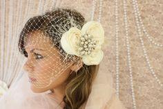 Bridal Bird Cage Veil Fascinator Light by divinebridaldesigns, $64.00