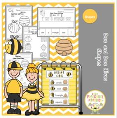 Bee and Bee Hive Shapes14 pages color and trace the shape4 color and match (bee with bee hive shape)2 color-cut-paste matching7 color-cut-paste sentences2 color-count-tally pages12 colored cards of bees to match with bee hives14 vocabulary cards with bee and bee hives on them for pocket chart(if you find some shapes to hard for pre-k omit them)