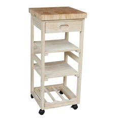 International Concepts Brown Wood Base with Wood Butcher Block Top Kitchen Cart x x at Lowe's. International Concepts home furniture is for those who appreciate high quality, wood furniture with a traditional and elegant look. Kitchen Cart With Drawers, Kitchen Trolley, Kitchen Storage, Small Kitchen Cart, Kitchen Dining, Kitchen Decor, Butcher Block Cart, Space Saving Kitchen, White Kitchen Island
