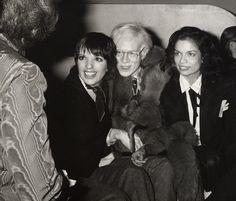 Liza Minnelli, Andy Warhol and Bianca Jagger.