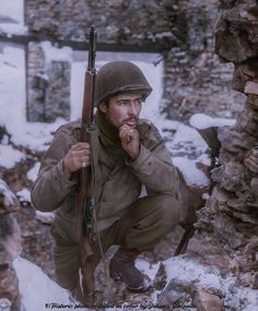 S/Sgt. Herbert Limon from Company I - 134th Infantry Regiment (35th Infantry Division) after heavy fighting in the village of Lutrebois, Belgium on 6 January 1945. Coloured by historic photo restored in color by Johnny Sirlande
