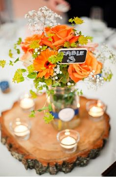 Country Wedding Floral Inspiration - Country Wedding Centerpieces orange and white wedding centerpiece