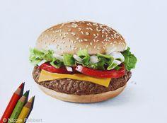 Burger drawing by Nicole Rebbert,  Quelchii.deviantart.com on @DeviantArt