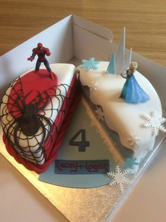 87 ideas of best birthday cake Spiderman Spiderman Birthday Cake, Twin Birthday Cakes, Superhero Cake, Frozen Birthday Party, Spiderman And Frozen, Halloween Party Themes, Halloween Labels, Adult Halloween, Elsa Cakes