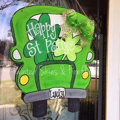 St Patricks Day Door Hanger / Spring Decor / Truck / Home Decor / St Pattys Day / Wreath / Outdoor Decor /  Seasonal / Clover / Lucky by paintedskyfirefly on Etsy https://www.etsy.com/listing/503017017/st-patricks-day-door-hanger-spring-decor