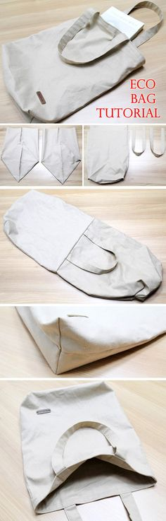 Eco-friendly Shopping Bag Tutorial Canvas Tote Shopping Eco Bag DIY Step by Step Photo Tutorial.Canvas Tote Shopping Eco Bag DIY Step by Step Photo Tutorial. Bag Sewing Pattern, Bag Patterns To Sew, Sewing Patterns, Tote Pattern, Sewing Clothes, Diy Clothes, Bags Sewing, Sewing Hacks, Sewing Projects
