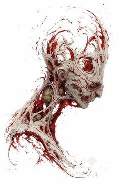 Beautiful Science Fiction, Fantasy and Horror art from all over the world. Arte Horror, Horror Art, Dark Fantasy Art, Fantasy Artwork, Biomech Tattoo, Dark Art Drawings, Creepy Art, Creature Concept, Creature Design