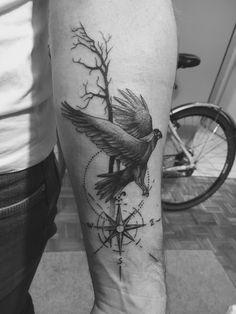 tree tattoo, crown tattoo, bird tattoo, artwork tattoo, artistic tattoo