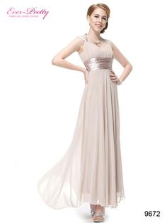 Trailing Sequins Khaki Empire Waist Ruching NWT Prom Dress - Ever-Pretty US