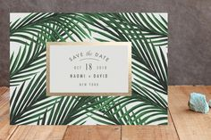 """""""Tropical Love"""" - Customizable Foil-pressed Save The Date Cards in Gold by Elly"""