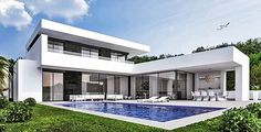 Modern Architecture House, Architecture Design, Modern Villa Design, Courtyard House, Mansions Homes, Spanish House, Dream House Exterior, Sims House, Modern House Plans