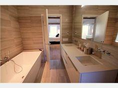 All limestone bathroom Linden Homes, Corner Bathtub, Bathrooms, House Ideas, Mirror, Kitchen, Furniture, Design, Home Decor