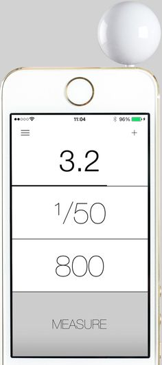 A really compact, modern, and gorgeous light meter that uses an iPhone app.