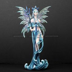 Sea-Goddess-Fairy-Elemental-Queen-With-Trident-Statue-Figurine-Home-Collectibles