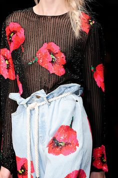Red & Blue Red ❀ Poppy Flowers Sequined Prints ❀ & Blue denim Ashish Spring - Summer 2012 Fashion