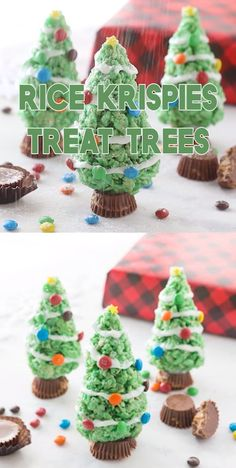Adorable Rice Krispies Treat Trees for Christmas These are such a fun dessert for Christmas Parties that kids will love So simple to make and a great addition to any holiday party for Christmas party recipe christmas trees treats snacks kids Christmas Desserts Easy, Christmas Party Food, Xmas Food, Christmas Cupcakes, Christmas Sweets, Christmas Cooking, Christmas Goodies, Simple Christmas, Holiday Treats