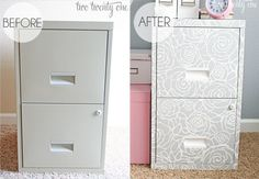 file cabinet makeover...someday I should spruce up my ugly faux-wood laminate one I've had since college!  {IHeart Organizing}