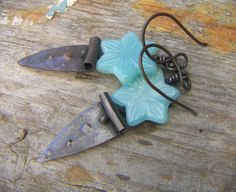Turquoise Star Flower Dangle Earrings by annamei on Etsy,