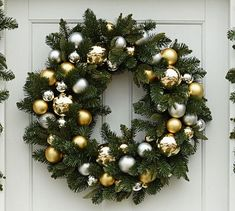 Outdoor Ornament Pine Wreath & Garland - Gold/Silver   Pottery Barn (SOLD OUT)