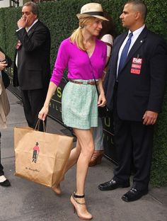 Diane Kruger StyleChi J Crew Fuchsia Cardigan High Waist Green Tweed Skirt Straw Hat Nude Heels
