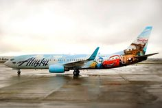 Alaska Airlines debuted a Disney themed airplane at Seattle-Tacoma International Airport. The plane features characeters from Disney-Pixar's Cars film. Alaska Airlines, Skywest Airlines, Disney World Tips And Tricks, Disney Tips, Disney Stuff, Jet Privé, Best Airfare, Disney Planes, Disney Pixar