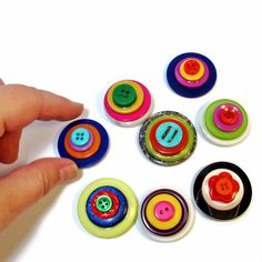 Colorful Button Magnets, Handmade, Upcycled #Gift Ideas