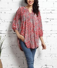 Add a simply elegant accent to your ensemble with this flowing tunic that boasts a timeless paisley pattern and is crowned with a sophisticated notched neckline. Shipping note: This item is made for zulily. Allow extra time for your special find to ship. Beautiful Outfits, Cool Outfits, Casual Outfits, Fashion Outfits, Quoi Porter, Indian Designer Wear, Dress Patterns, Blouse Designs, Ideias Fashion