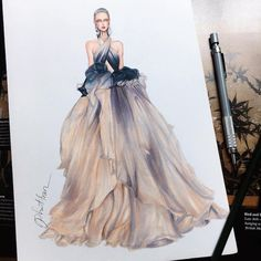 Fashion Designer Illustrates Gorgeous Gowns in Enchanting Detail The collection of gown designs by fashion illustrator Eris Tran showcase the artist's avant-garde approach to traditional dress design. Dress Design Sketches, Fashion Design Sketchbook, Fashion Design Drawings, Fashion Sketches, Dress Designs, Art Sketchbook, Dress Illustration, Fashion Illustration Dresses, Fashion Illustrations