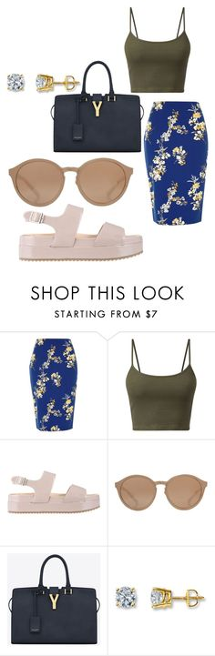 """""""Muwah💋"""" by xwolfgang ❤ liked on Polyvore featuring River Island, ZALORA, Linda Farrow and Yves Saint Laurent"""