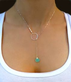 Pearl Lariat Necklace - Aqua Chalcedony Lariat - Sterling Silver Lariat - Gold Lariat Circle Necklace - Bridesmaid Wedding Necklace Gift