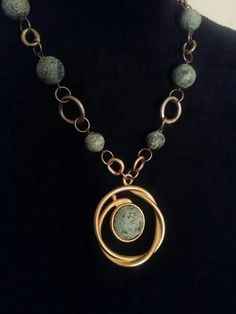 Blue gold necklace