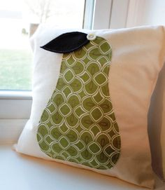 12x12 Pear Appliqued Pillow Cover by KelsCozyCorner on Etsy, $25.00