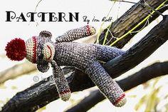 Classic Twist Sock Monkey Doll - $5.50 (CAD) by Ira Rott of Ira Rott / Sock Monkeys Part 1 - Animal Crochet Pattern Round Up - Rebeckah's Treasures