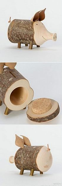 Just the stump with a cork in lid is pretty cool. Not the piggy so much