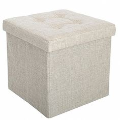 "Storage Ottoman Fabric Linen Folding Stool,Collapsible 15"" Cube,Thickening Sponge and 4 Buttons Design for Foot Rest Seat,Clutter Toys Collection---15.99---"
