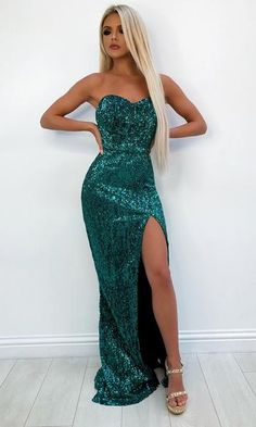 Get Up And Glow Emerald Green Sequin Strapless Sweetheart Neck High Slit Mermaid Maxi Dress Green Sequin Dress, Sequin Maxi, Mermaid Sequin Dress, Mauve Dress, Emerald Green Bridesmaid Dresses, Emerald Green Formal Dress, Strapless Dress Formal, Prom Dresses, Sexy Dresses