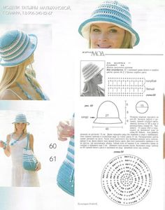 Crochet hat with charts Crochet Summer Hats, Crochet Baby Hats, Crochet Beanie, Knitted Hats, Diy Crochet, Childrens Crochet Hats, Sombrero A Crochet, Crochet Stitches Patterns, Crochet Woman