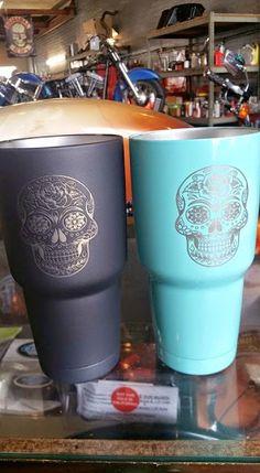 Yeti Rambler, Colster ,Powder Coating and Laser Etching.: custom black and blue sugar skull yeti ramblers.