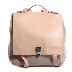 PROENZA SCHOULER Leather Linen Large PS Backpack Natural ❤ liked on Polyvore featuring bags, backpacks, flap backpack, pink leather satchel, genuine leather backpack, genuine leather satchel handbags and leather satchel