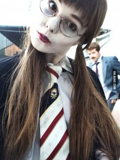 Me dressed as moaning myrtle at a harry potter themed party<<< I love the costume I don't see a lot of moaning myrtle cosplay