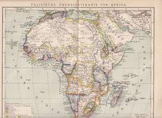 1893 Politische Karte von Afrika Original Landkarte Lithographie / Antique Map