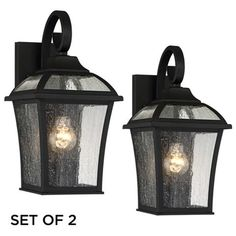 """Set of 2 Mosconi 15"""" High Black Outdoor Wall Lights"""