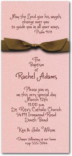 Pink & Brown Ribbon Baptism Invitations