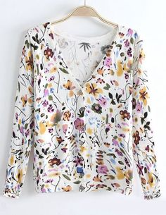 White V Neck Long Sleeve Floral Kint Sweater pictures