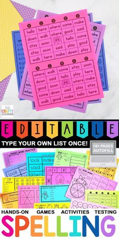 Editable Weekly Spelling List Printables!! Gone are the days of painstakingly creating your own weekly spelling list worksheets. This NO-PREP Editable hands-on spelling activity pack features a handy AUTO-FILL setting that allows you to create 15 custom spelling games activities and worksheets by simply typing in your word list ONE time. Editable for Any Word List Multiple Ability Levels Weekly Progression Written & Oral Activities Covers Syllables Vowels ABC Order Beginning Letters… First Grade Spelling, Spelling Words List, Spelling And Handwriting, Spelling Games, Spelling Bee, Spelling Activities, Interactive Activities, Hands On Activities, Activity Games