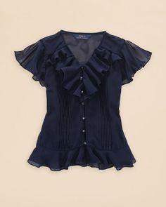 Ralph Lauren Girls' Chiffon Top - Sizes 7-16