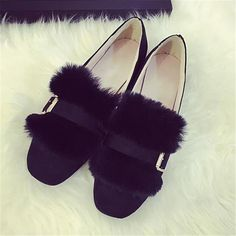 $16.99    Trendy Fur Flats Loafers Buckle Belt Velvet Ballet Flat Casual Shoes for Women's