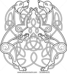 Celtic dog with knots is on white - stock vector                                                                                                                                                                                 Plus
