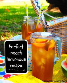 Perfect Peach Lemonade - such a fun drink idea for your next family picnic! Refreshing and sweet.